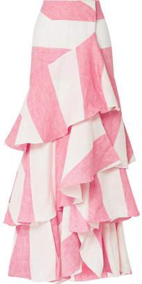 Johanna Ortiz Tabasco Ruffled Striped Linen Wrap Maxi Skirt - Pink