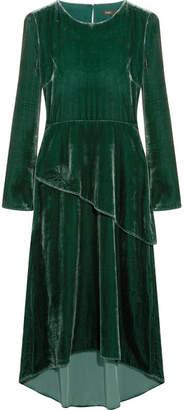 Maje Velvet Midi Dress - Forest green