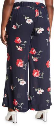 Nine West Plus Floral-Print Wide-Leg Pants, Plus Size