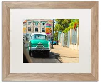 Trademark Fine Art 'American Car In Havana' Matted Framed Art, Birch Frame, White Matte