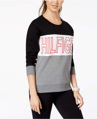 Tommy Hilfiger Embroidered Logo Colorblock Sweatshirt, Created for Macy's