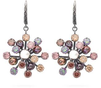 Bottega Veneta Crystal Floral Drop Earrings - Womens - Multi