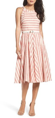 Women's Eliza J Stripe Fit & Flare Midi Dress $158 thestylecure.com