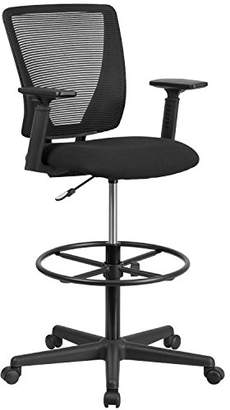 Flash Furniture Ergonomic Mid-Back Mesh Drafting Chair with Black Fabric Seat