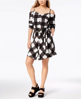 Bar III Plaid Off-The-Shoulder Dress, Created for Macy's