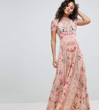 Frock and Frill Tall Frock And Frill Tall Allover Embroidered Plunge Front Maxi Dress