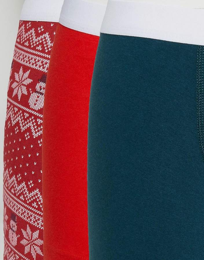 Asos Christmas Trunks In Gift Box With Fairisle Print 3 Pack