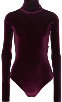 Alix - Sylvan Open-back Velvet Turtleneck Thong Bodysuit - Claret