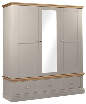 Corndell Debenhams - Oak And Taupe 'Oxford' Triple Wardrobe With Drawers