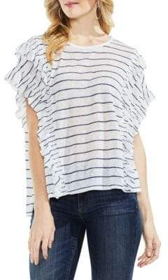 Vince Camuto Striped Ruffle Top