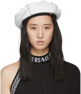 Versace White Logo Tag Beret