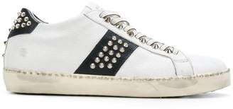 Leather Crown lace up stud sneakers