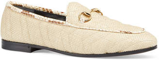 Gucci New Jordaan Straw Loafers