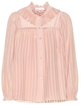 See by Chloe Ruffled cotton-blend blouse