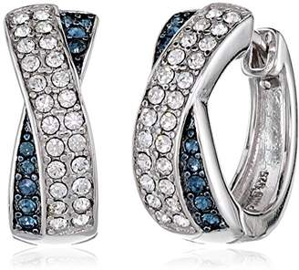 "Swarovski Sterling Silver Montana Blue and White Crossover Huggie Hoop Earrings Made with Crystal (0.75"" diameter)"