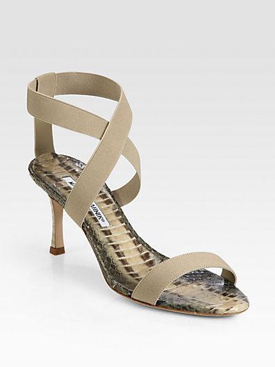 Manolo Blahnik Unnerta Crisscross Snakeskin Sandals