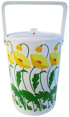 One Kings Lane Vintage Yellow Poppies Ice Bucket