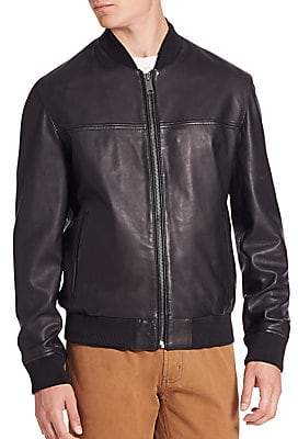 Saks Fifth Avenue Men's MODERN Zip-Front Leather Bomber Jacket