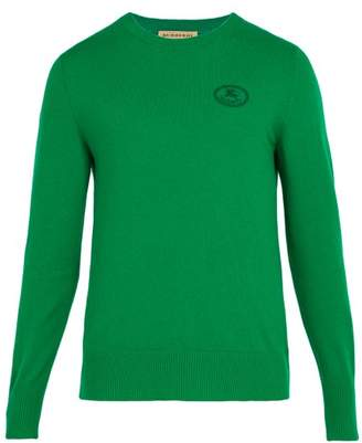 Burberry Malcolm Logo Embroidered Cashmere Sweater - Mens - Green