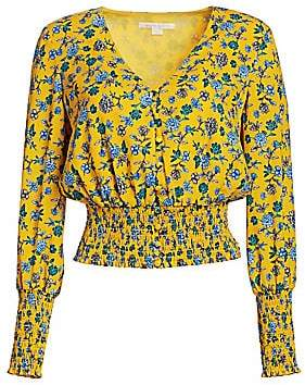 The Endless Summer Scripted Scripted Women's Floral Smocked Waist Blouse