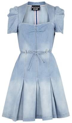 Moschino Light Blue Pleated Denim Dress