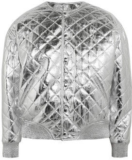 Quilted Metallic Leather Bomber Jacket