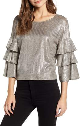 Bishop + Young BISHOP AND YOUNG Metallic Tiered Ruffle Sleeve Top