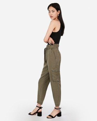 Express High Waisted Sash Tie Utility Cargo Pant