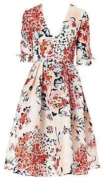 Carolina Herrera Women's Floral Silk Tea Dress