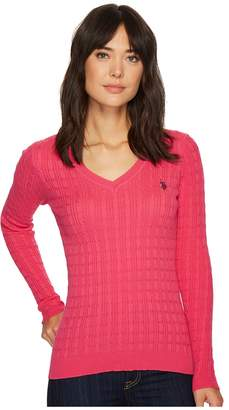 U.S. Polo Assn. Solid V-Neck Cable Knit Sweater Women's Sweater
