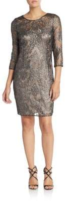 Kay Unger Beaded Lace Shift Dress