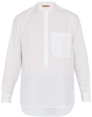 Barena Venezia - Curved Hem Cotton Poplin Henley Shirt - Mens - White