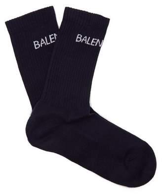 Balenciaga - Logo Cotton Blend Socks - Mens - Navy