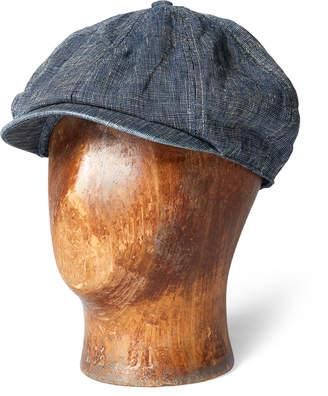 Pincheck Linen Newsboy Cap