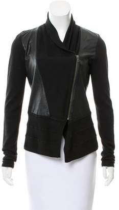 Ohne Titel Knit-trimmed Leather Jacket