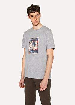 Paul Smith Men's Grey Marl Organic-Cotton 'Monkey Stamp' Print T-Shirt