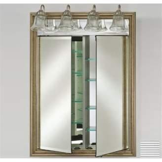 Afina Corporation DD-LT3140RSOHFC 31x40 Traditional Integral Lighted Double Door - Soho Fluted Chrome