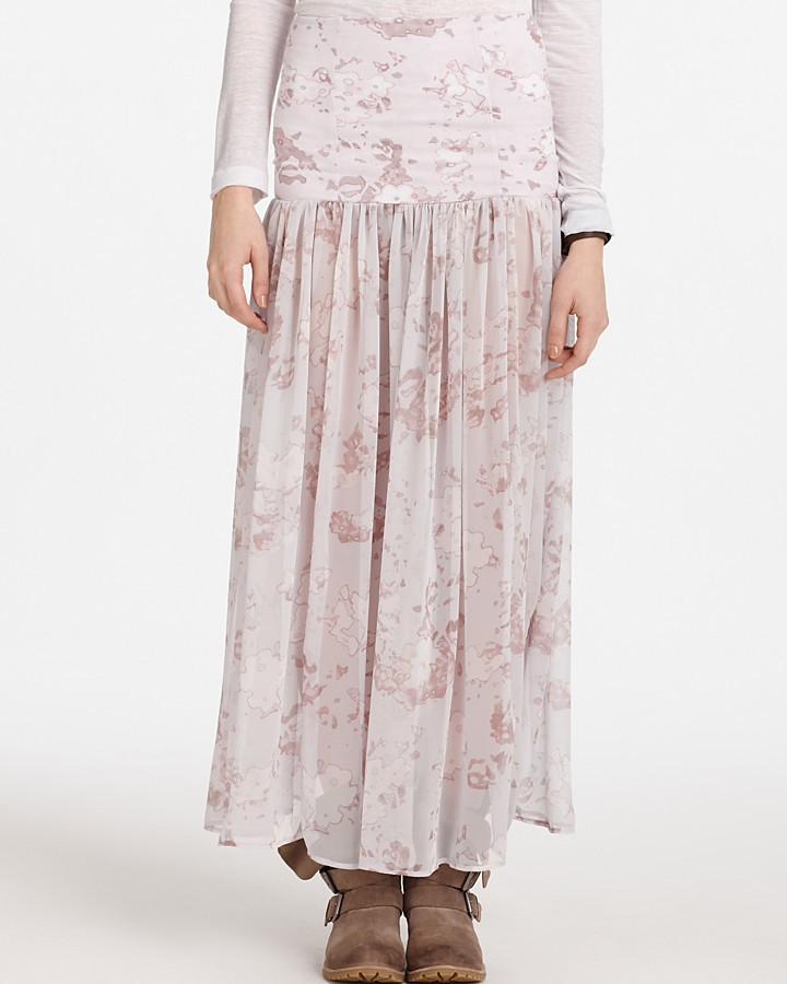 Free People Printed Chiffon Skirt Slip