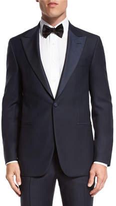 Isaia Jacquard-Lapel Tuxedo Suit, Navy