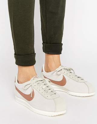 Nike Classic Cortez Leather Luxe Sneakers In Bone And Metallic Bronze