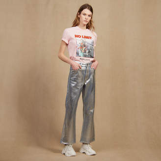 Sandro High-waisted coated flared jeans