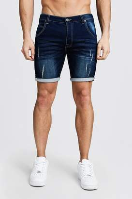 boohoo Skinny Fit Jersey Denim Shorts With Selvedge