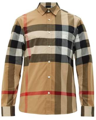 Burberry Windsor House Check Cotton Blend Shirt - Mens - Camel