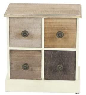DecMode Decmode Modern 4-Drawer Wooden Jewelry Chest, Brown