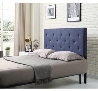 Hodedah Blue Linen Upholstered Tufted Rectangular Headboard, Multiple Sizes