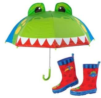 Stephen Joseph Dinosaur Truck Rain Boots & Umbrella Set