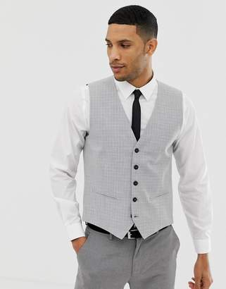 Selected Skinny Wedding Vest In Cross Hatch