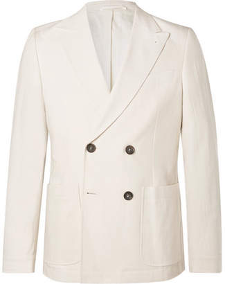 Oliver Spencer Cream Double-Breasted Cotton Suit Jacket