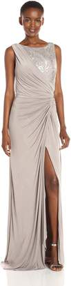 Adrianna Papell Women's Sleeveless Sequin Lace Shirred Jersey Gown