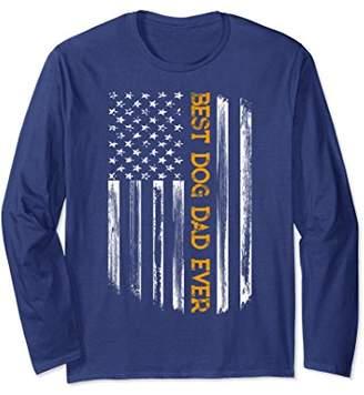 Best Dog Dad Ever Long Sleeve Shirt Distressed US Flag Lover